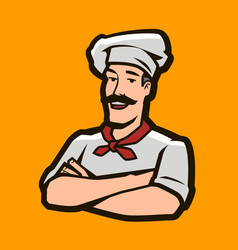Funny chef cook logo restaurant cooking food vector