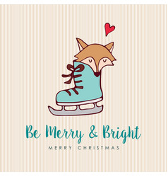 Funny christmas fox holiday cartoon greeting card vector