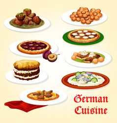 german cuisine icon of dinner dish with dessert vector image