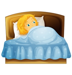 Girl feeling sleepy in bed vector image vector image