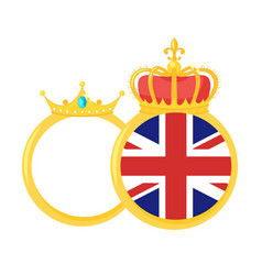Golden rings with royal crown vector