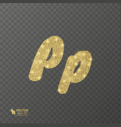 golden shiny letter p on a transparent background vector image