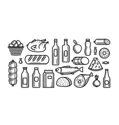 grocery store food and drinks icons set vector image