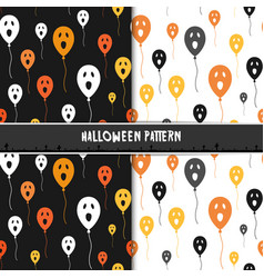 halloween seamless pattern with cute ghost vector image