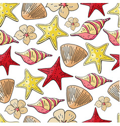 hand drawn seashells and starfish vector image
