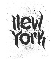 hand lettered textured new york t shirt apparel vector image