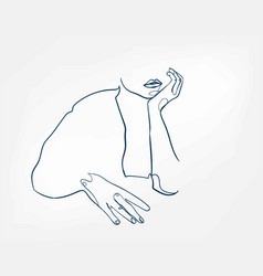 Hands girl line art single line isolated abstract vector