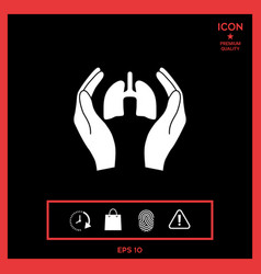 hands holding lungs - protection icon vector image
