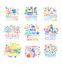 Happy kid holiday happy new year logo template vector