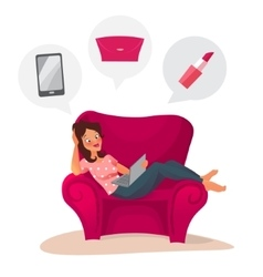 Happy woman doing online shopping at home vector image