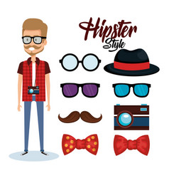 Hipster style avatar with accessories vector