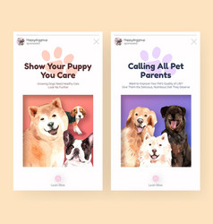 Instagram template with dogs design for social vector