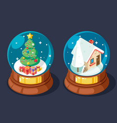 isometric christmas snow covered homely cozy house vector image