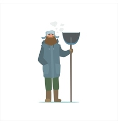 Janitor Outside In Winter vector