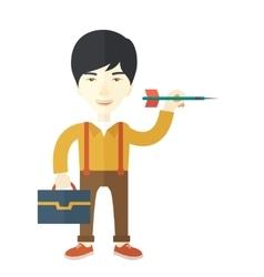 Man holding a target arrow vector image