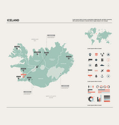 Map iceland high detailed country vector