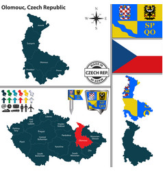 Map of olomouc czech republic vector