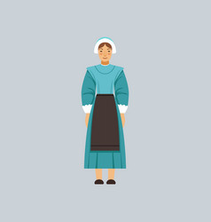 Mennonite or amich woman in traditional dress vector
