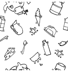Milk icons pattern vector image