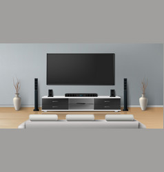 Mockup of room with home theater system vector