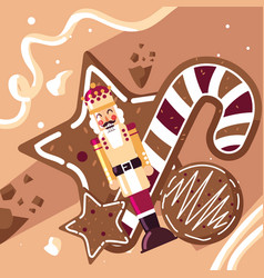 Nutcracker king with cane and cookies vector