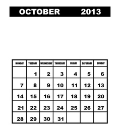 October calendar 2013 vector