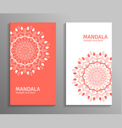 Ornamental mandala flyers in red white color vector