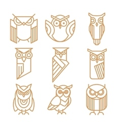 Owl line logos emblems and labels set vector