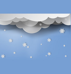paper art of snow with winter season blue sky vector image