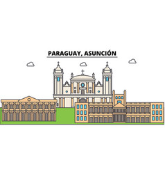 Paraguay asuncion outline city skyline linear vector