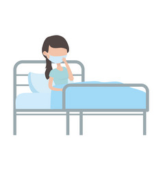 Patient with mask in bed covid 19 pandemic vector