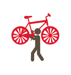 person with bicycle in his hands and shoulder vector image