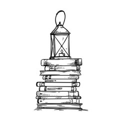 Pile of books with old lantern on the top vector