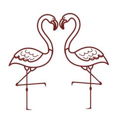 Pink flamingo isolated icon vector