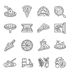 pizza whole slices thin line icons set isolated vector image