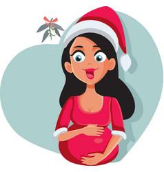 Pregnant woman wearing santa hat on christmas vector