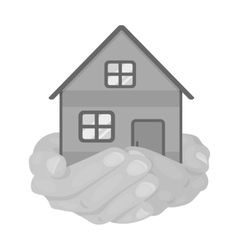 Property donation icon in monochrome style vector