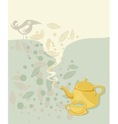 Retro tea time vector image