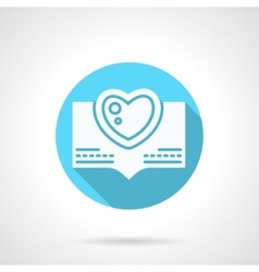 Round blue love greeting flat icon vector image