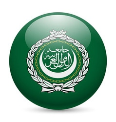 Round glossy icon of arab league vector image