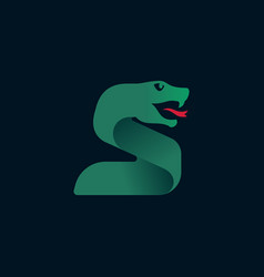 S letter logo with snake head silhouette vector
