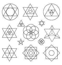 Sacred geometry symbols elementsBlack outline vector image