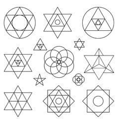 Sacred geometry symbols elementsBlack outline vector