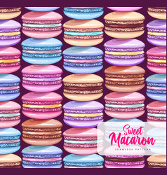 seamless pattern with colorful sweet macarons vector image
