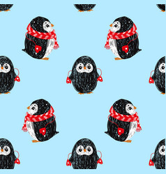Seamless pattern with cute penguin in scarf and vector