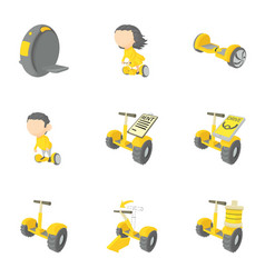 segway icons set cartoon style vector image