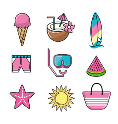 set activities to do in beach and summer days vector image