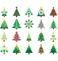set christmas trees on white background vector image