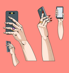set four hands with phone in different vector image