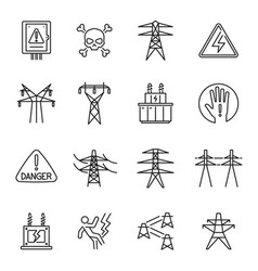 Set monochrome high voltage transmission line vector